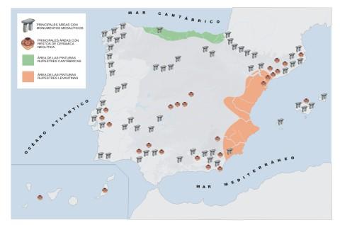 Mapa de situación del arte Prehistórico en la Península Ibérica